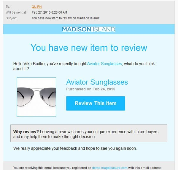 AJAX Reviews - Preview Email Template