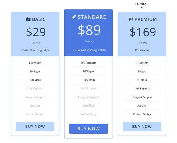 Pricing Table Addon Screenshot