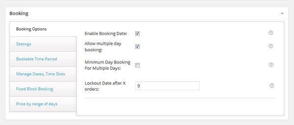Booking Options Screenshot