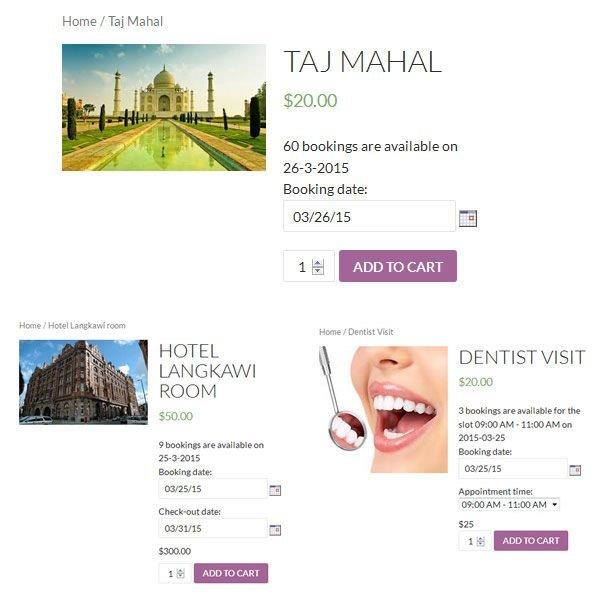 Bookings Screenshots