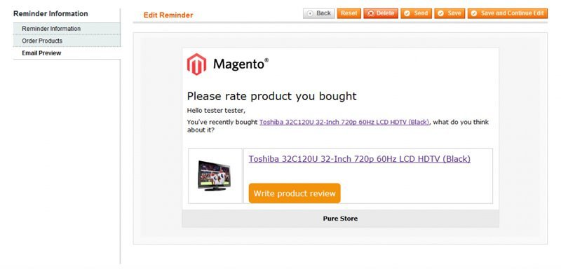 Reviews Reminder Magento Extension