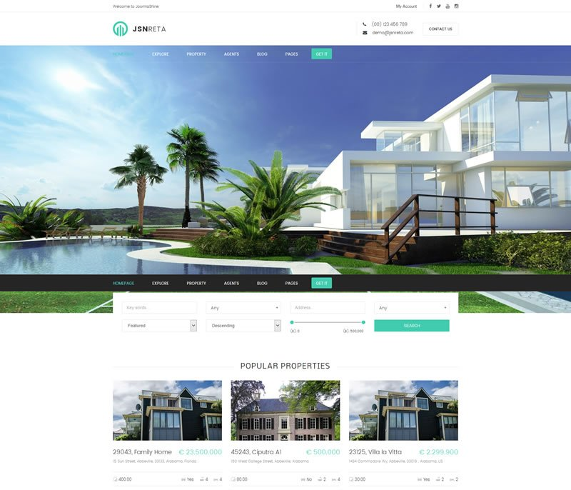 JSN Reta Real Estate Joomla Template