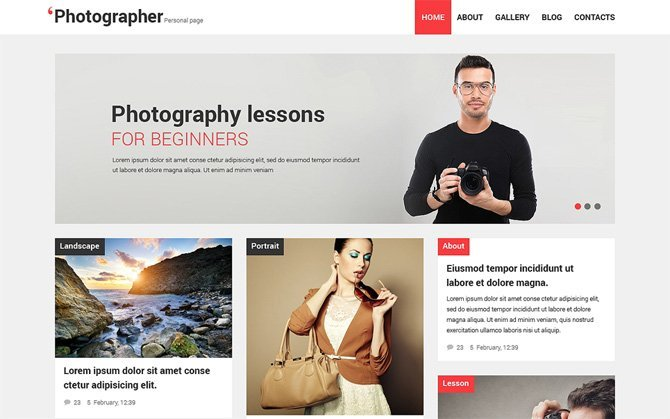 Photographer Personal Page Theme