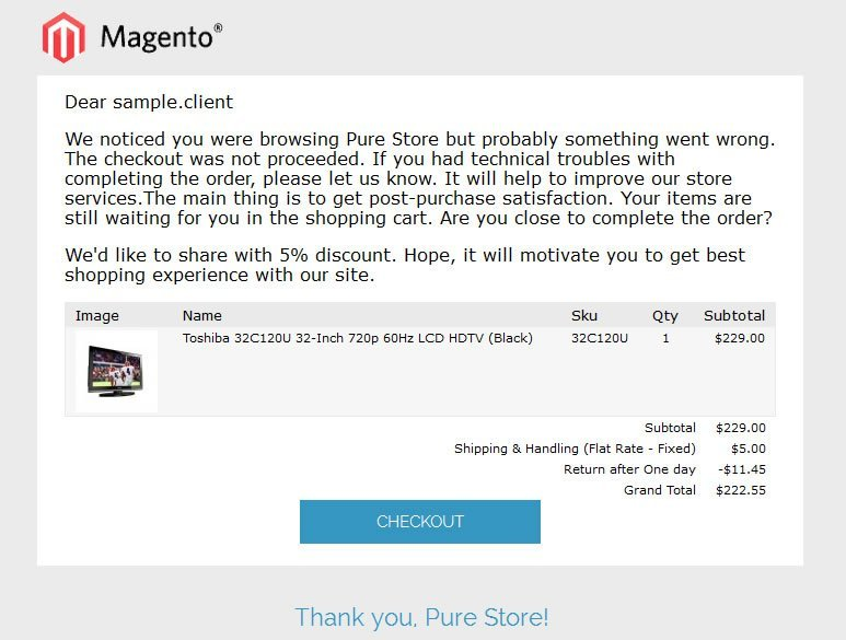 Abandoned Cart Email Preview