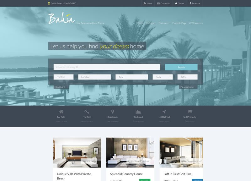 WPCasa Bahia Real Estate WordPress Theme