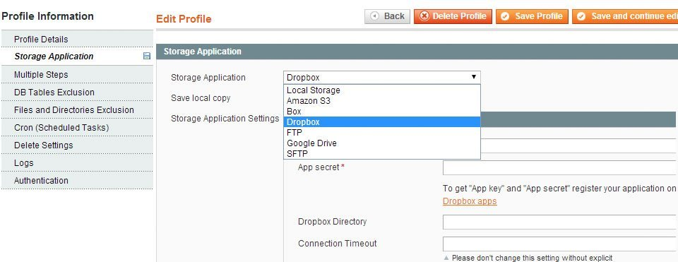 Storage Options for Magento Backup
