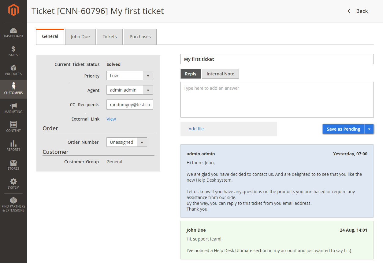 HDU Admin Ticket Page