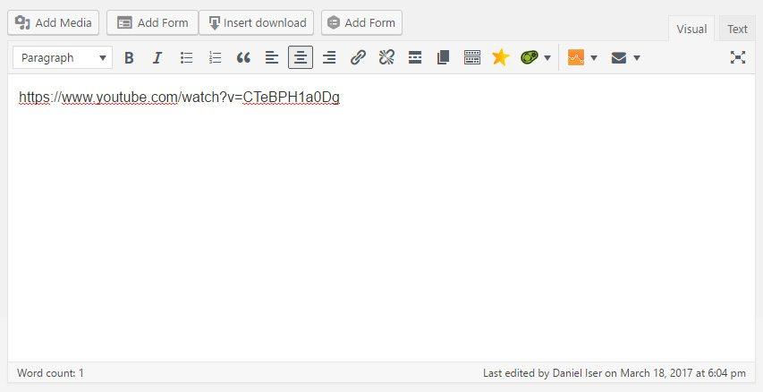 Video URL in Popup Editor