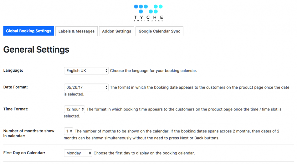 Booking Global Settings UI