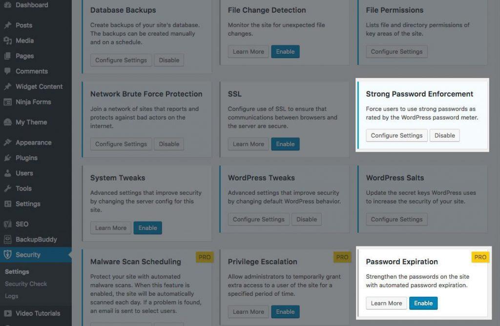WordPress Password Settings