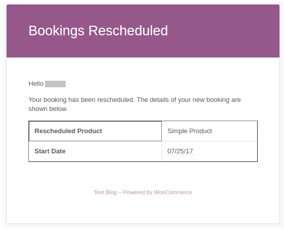 Reschedule Booking Email