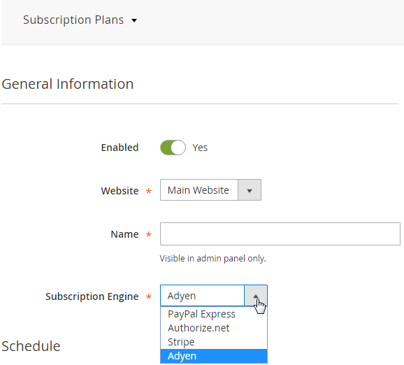 Adyen Subscription Engine