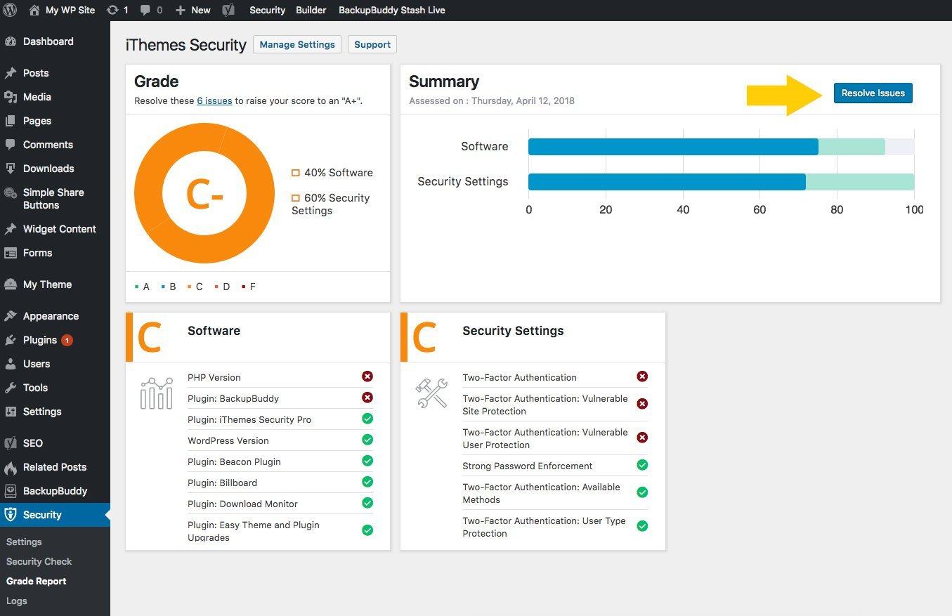 WordPress Security Grade Report