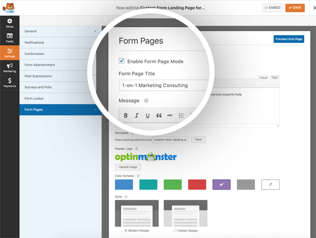Form Page Mode