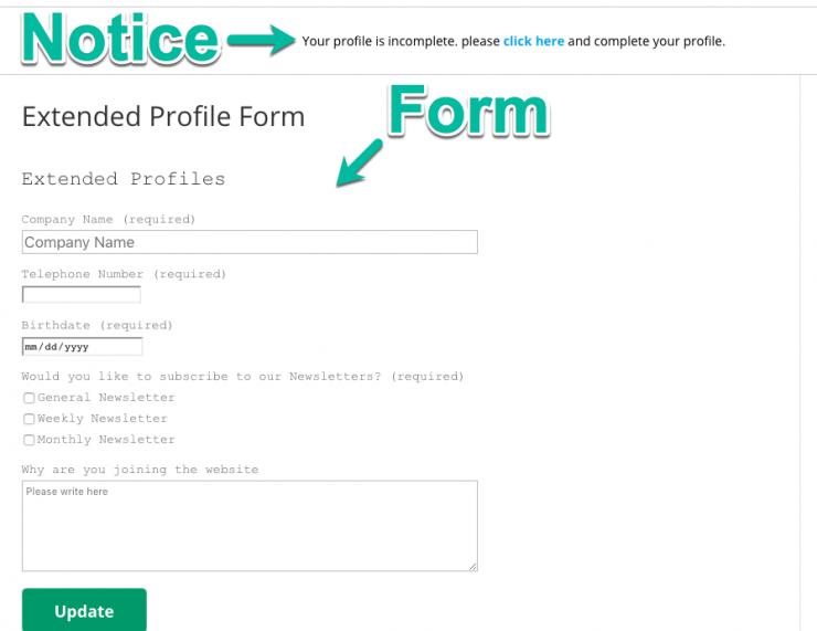 Profile Form & Notice