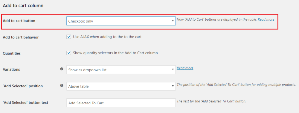 Add To Cart Column