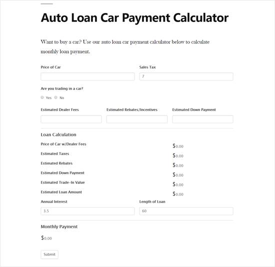 Car Payment Calculator Form