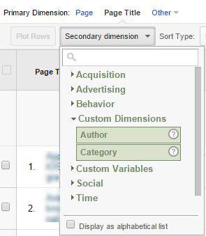 GA Secondary Dimension