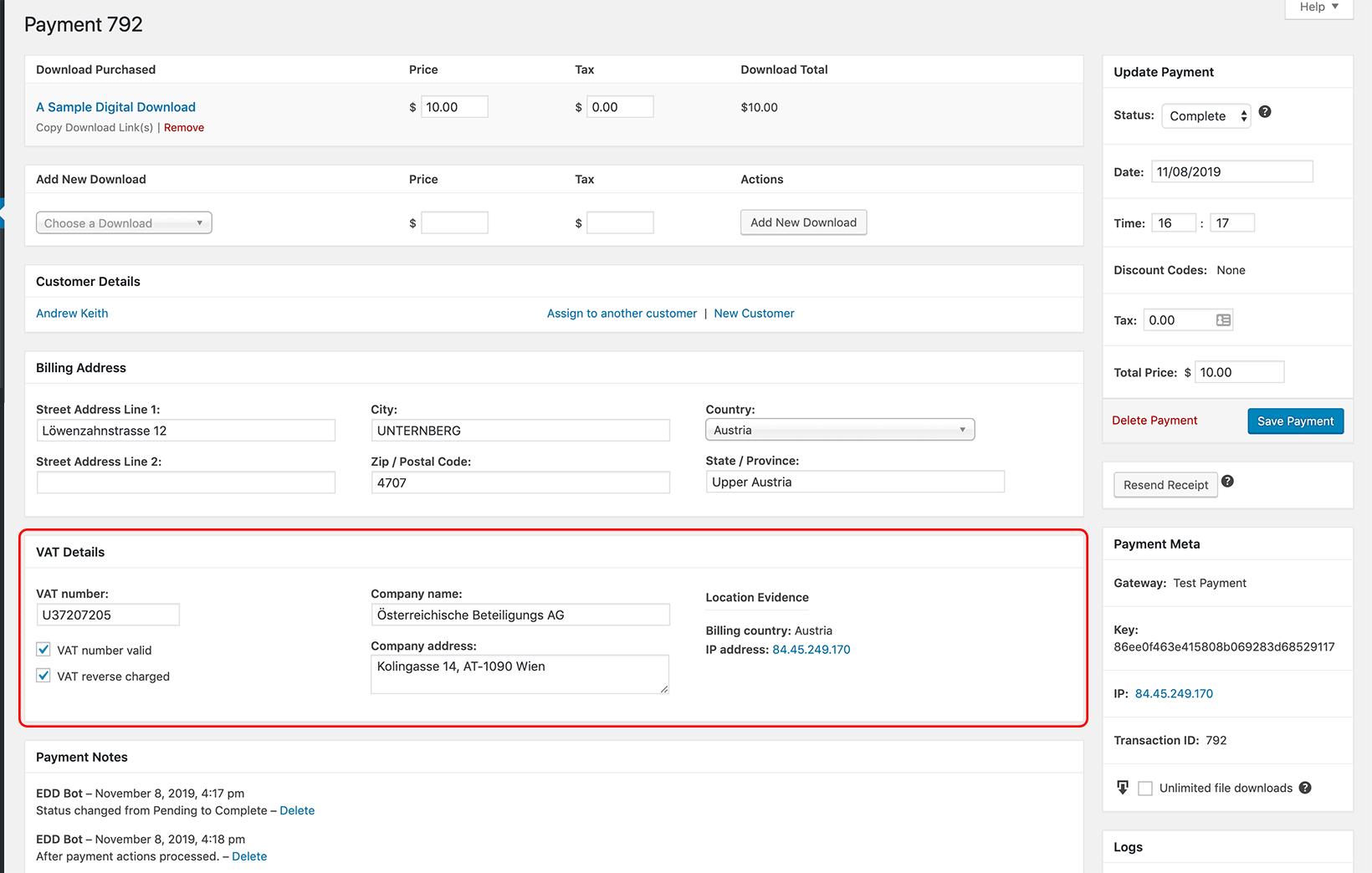 EDD Payment Screen