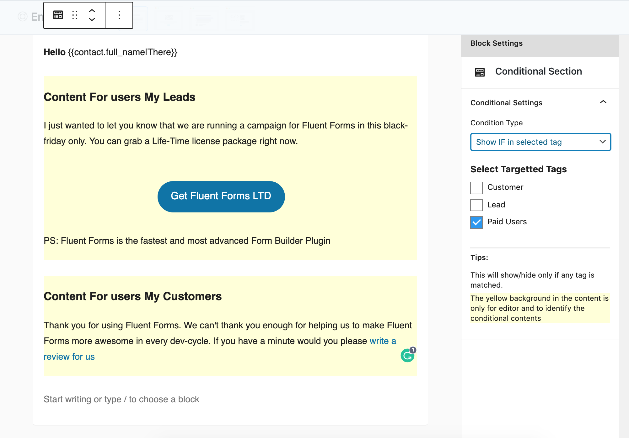 Conditional Email Content Block
